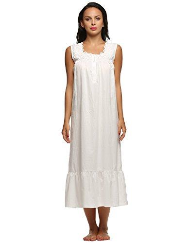 Schöne Viktorianische Spitze (Ekouaer Damen Nachthemd lang Ärmellos Catton Lace Schlafanzug Fronttasten Gemütlich locker viktorianischer Stil Nachtwäsche, Weiß, EU S)