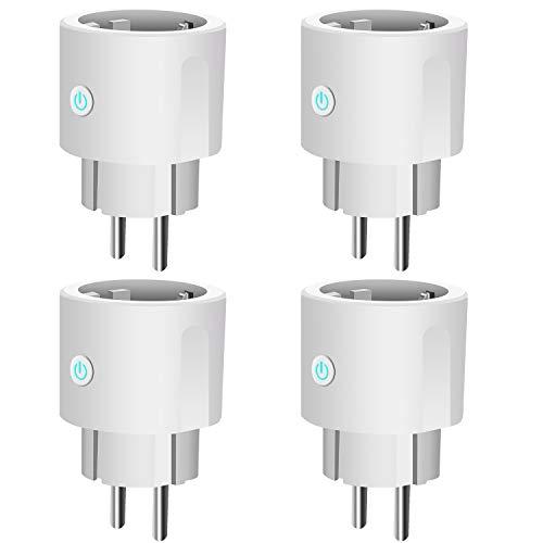 Prise Connectée,Prise Intelligente Wi-FI,Prise de Courant Compacte Contrôle par APP Gratuite ou Votre Voix, Compatible avec Alexa Google Home IFTTT Prise Mini avec fonction minuterie (4 Packs)