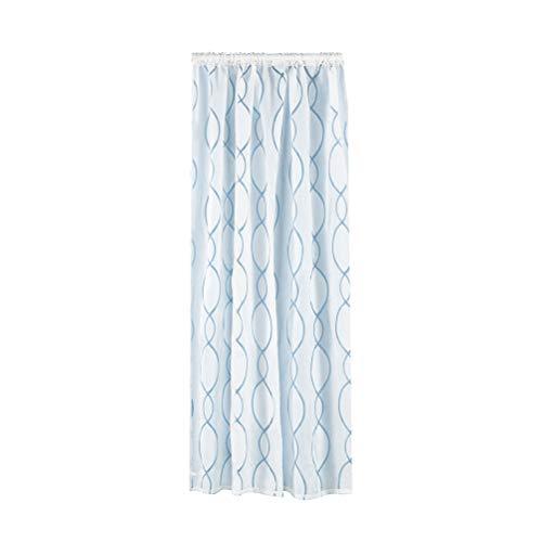 eening Dual Farbe Kreis Bubble Cut Fenster Tüll Stange Verarbeitung Volant Vorhang für Schlafzimmer Wohnzimmer Fenster Dekoration (100x200 cm, Weiß) ()