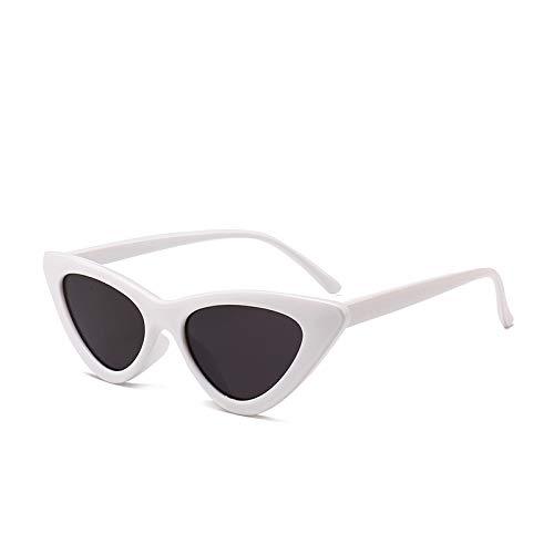 Yangjing-hl Cat Eye Sonnenbrille Persönlichkeit Kästchen Sonnenbrille Dreieck Cat Eye Brille C weißer Rahmen grau Stück Scharnier Zähne