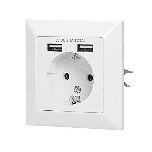 Orno AE-13140(GS) USB Steckdose Unterputz Weiß || 2x USB 5VDC / 2,1A || Shucko 3680W 16A || 80x80x41 mm -