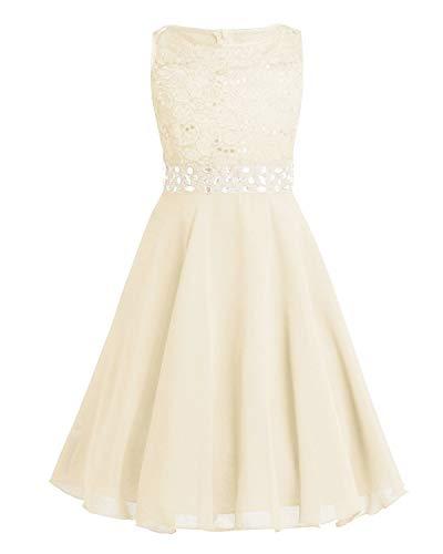 Tiaobug Festlich Mädchen Kleid für Kinder Prinzessin Spitzen Kleider Hochzeit Blumenmädchenkleid 92 104 116 128 140 152 164 Beige 164 (Weiß Mädchen Kleid)