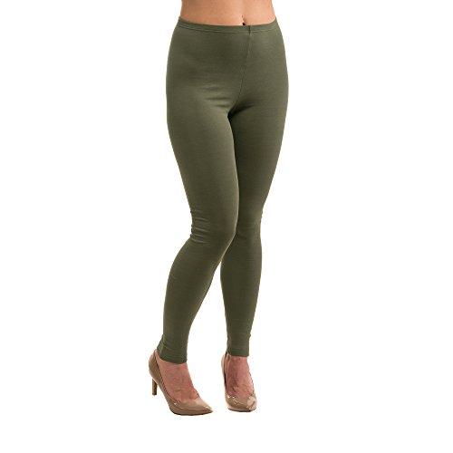 HERMKO 5720 Damen Leggings aus Baumwolle/Elastan, Größe:44/46 (L), Farbe:olive (Olive Grünes Kleid Hose)