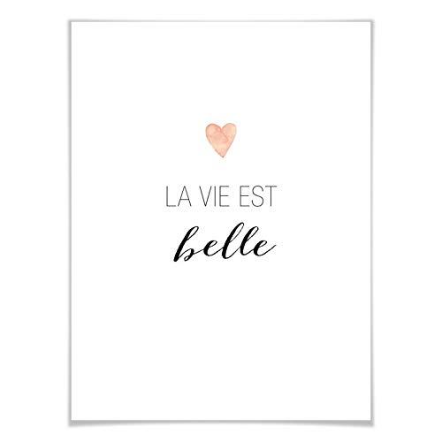 Poster Confetti & Cream - La vie est belle Spruch Typografie Leben ist schön Zitat Herz Trend Wörter französisch Wall-Art - 30x40