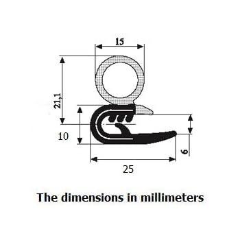 Guarnizione per porta in gomma orizzontale e con lampadina 1,6 cm di altezza x 0,1-0,3 cm una gamma di controllo x 0,53 U altezza dimensioni