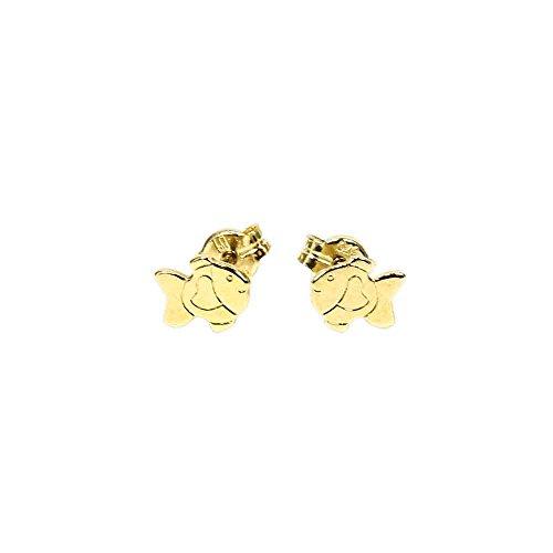 NKlaus PAAR 375 Echt Gold Fisch Kinder Ohrstecker Ohrringe 5578
