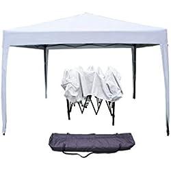 Boudech Gazebo RICHIUDIBILE 3X3 Pieghevole A Fisarmonica Automatico Mercato Tenda con Sacca Colore Bianco *GAZECOBIANCO*