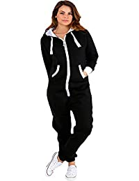 Top Fashion18 Ladies Plain Onesie All in One Piece Hooded Zip Up Playsuit  Size 8- 2e81ad897