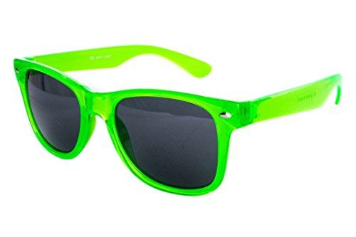 Ciffre Sonnenbrille Nerd Nerdbrille Stil Brille Pilotenbrille Vintage Look Neon Grün Transparent