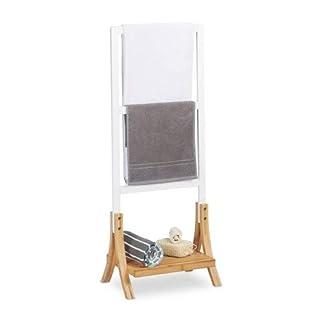 Relaxdays Toallero de Pie con 3 Barras y Repisa, DM y Bambú, Blanco y Marrón, 104 x 41 x 28,5 cm