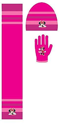 Set cappello sciarpa e guanti bimba minnie (rosa scuro)