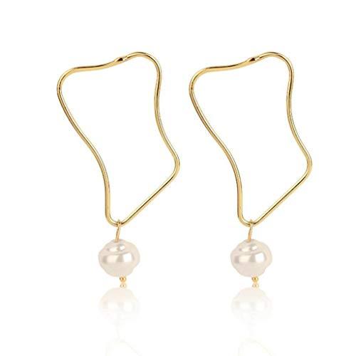 Moreoustitory Natürliche Süßwasserperlen Tropfen Baumeln Ohrringe Frauen Gold Tone Modeschmuck