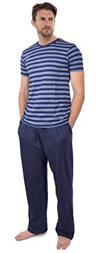 Herren Pyjama Satz Kurzärmeliges Top & Lange Hosen Hose Sommer - Insignia Blau & Marineblau, Large (Blaue Sommer-pyjama)