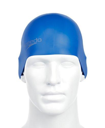 Speedo Plain Moulded Silicone Gorro de Natación, Unisex adulto, Azul, Única