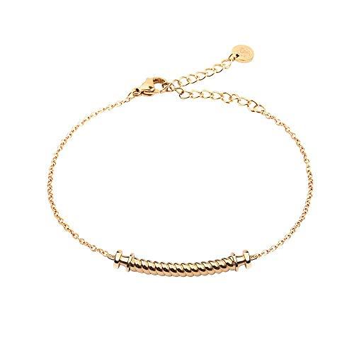 PAUL HEWITT Armkette Damen Gold Portside - Edelstahl Armband Damen (vergoldet) mit Damen Schmuck Anhänger in Gold aus Edelstahl (Segeltau)