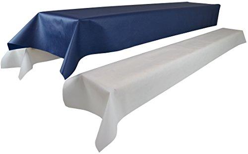 Bierzeltgarnitur 1 Tischdecke (Farbe & Breite nach Wahl) (1,2 x 2,5m, blau) und zwei weiße...