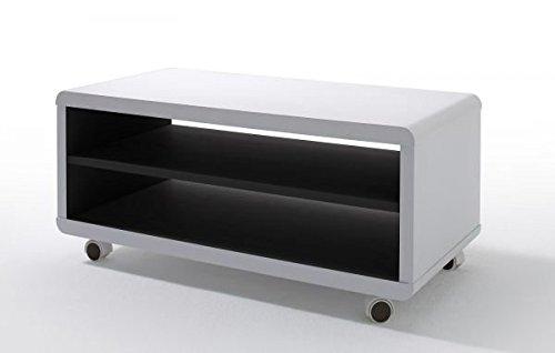 TV-lowboard, TV-Board, TV-Tisch Jeff7, weiss / schwarz mit Rollen -