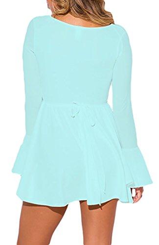 MYWY - Abito corto donna vestito mini donna manica lunga campana elegante sexy estate cinghia posteriore Celeste