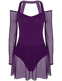 Alvivi Femme Justaucorps Ballet Robe Danse Classique Leotard Gym Yoga  Epaule Nus Robe Maille Manches Longues Fille Body Combinaison… d5a5dc5aff3