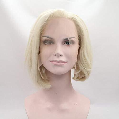 Perücken für Frauen 130% Dichte Kurze Gerade Bob Gold Haar 30cm Synthetische Hitze Widerstandsfaser Perücken Short Straight Wigs für Damen Täglichen Verschleiß (Für Bob Frauen Perücken Kurze)
