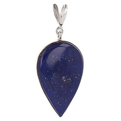 Idée cadeau Maman-Pierre de lapis lazuli naturel-Pendentif bleu Forme poire inversée-femme