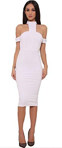ALAIX Damen rueckenfreies aermeloses sexy midi Bandage Kleid Weiß