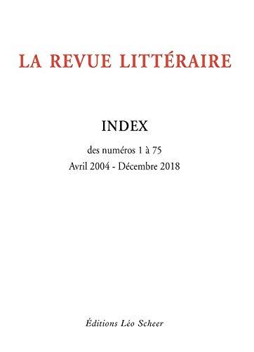 La Revue Littéraire Index (gratuit): des numéros 1 à 75