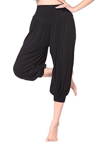 BeautyWill Yogahose/Laufhose/Jogginghose Fitness-Hose Hose in 3/4-Länge für Damen - für Sport und Training aus 95% Modal, M, Schwarz, M, Farbe: Schwarz