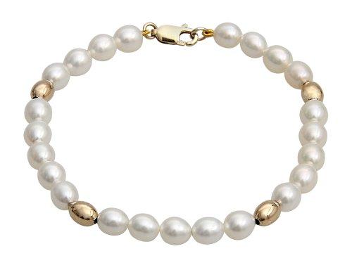 Kimura-Braccialetto con perle di fiume, 5, 5-6,0 mm, colore: bianco (a chicco di riso coltivata, qualità AA, perle d'acqua dolce e perline-Bracciale in oro ovale, in oro giallo 9 ct (7