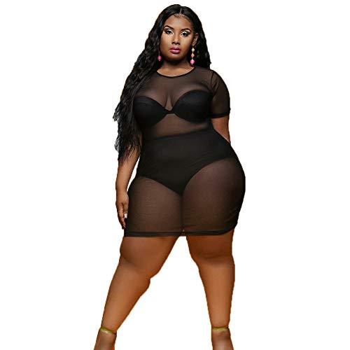 Plus Size Damen Mesh Perspective Kleid Sommer Kurzarm Rundhals Lässige Beach Prom Clubwear,Black,XL