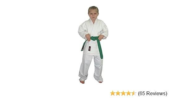 7e00e3c9b Student white karate suit poly/cotton (Pre-shrunk) student gi student karate  uniforms kids kimono inc FREE white belt: Amazon.co.uk: Clothing
