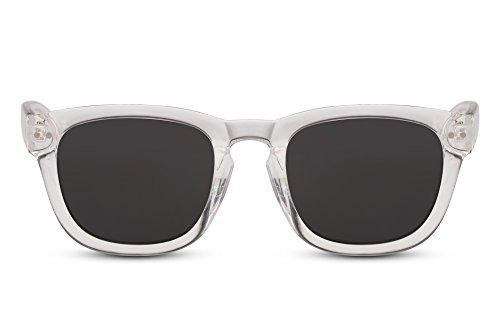 Cheapass Sonnenbrille Transparent Grau Recht-Eckig UV-400 Plastik Damen Herren