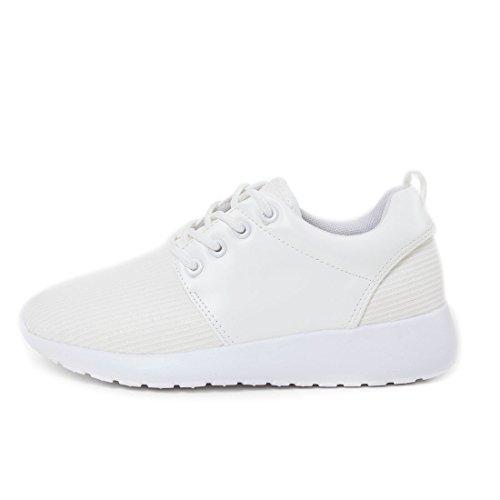 Top Schn眉r Wei Low Glitzeroptik Sneaker in Sport Turnschuhe Fitness Damen hochwertiger w7HSqPq