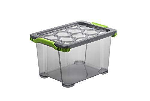 Rotho EVO-Total Protection mit verschließbarem Aufbewahrungsbox mit Deckel, Polypropylen, anthrazit durchscheinend, 15 Liter