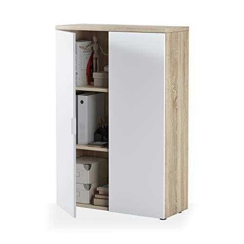 Habitdesign 0F5655A - Mueble Auxiliar despacho, Modelo Office, Blanco Artik y Roble...