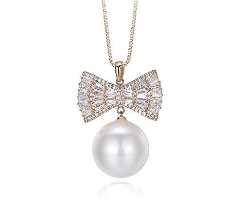 High-end catena del maglione dell'arco della perla delle donne della collana del pendente lunga selvaggio , light brown gold