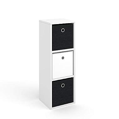 Vicco Raumteiler HYLDA 3 Fächer inkl. Faltboxen Weiß Standregal Regal Bücherregal Büroregal