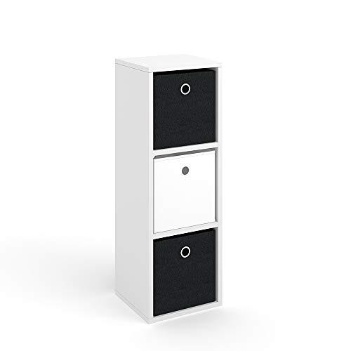 Vicco Raumteiler HYLDA inkl. Faltboxen Weiß Standregal Regal Bücherregal Büroregal (3 Fächer) -