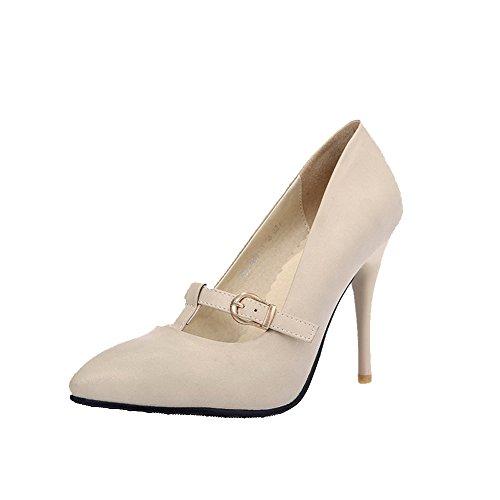 VogueZone009 Femme Pu Cuir Couleur Unie Boucle Fermeture D'Orteil Pointu Stylet Chaussures Légeres Beige
