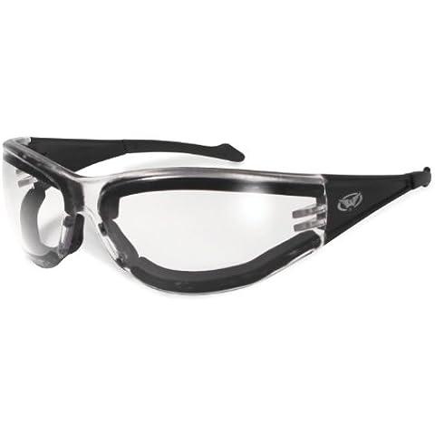 Trasparente infrangibile con Occhiali avvolgenti snowboard, antinebbia, protezione UV400, con panno di pulizia