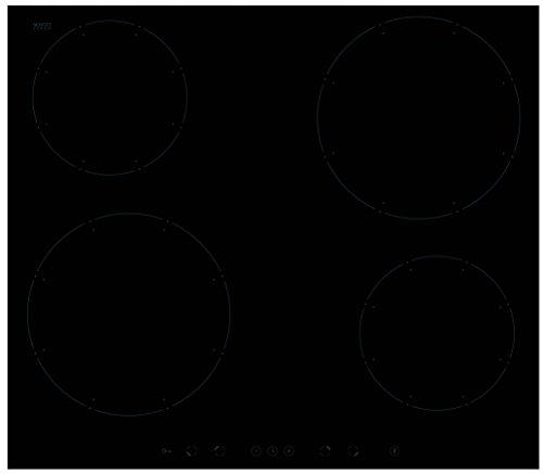 Amica KMI 13311 C Plaque Électrique/induction/57,6 cm/4 zones de cuisson Power Booster/Verre Céramique Noir