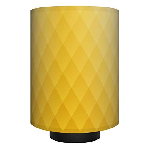 anna wand Tischlampe RAUTEN Curry - Komplette Lampe mit Design-Lampenschirm in Gelb, schwarzem Lampenfuß & Stoffkabel, Leuchtmittel - Sanftes Licht im Wohnzimmer, Schlafzimmer und im Flur