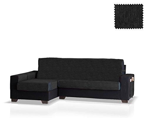 JM Textil Schoner für Ecksofa mit Larissa Ottomane Links, Grösse normal (245 cm.), Farbe Schwarz