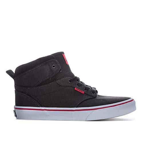 Vans Junior Boys Atwood Hi Trainers in Black Red- Lace Fastening- Hi Top