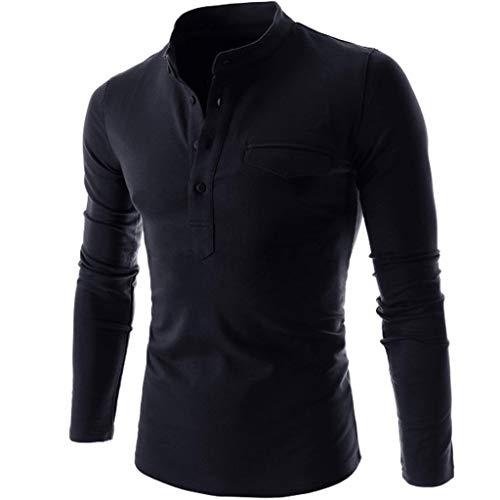 DNOQN Herren Top Long Sleeved Slim Fit T Shirts Laufshirt Langarm Mode Langarm Blusen Nadel Zeigen Herbst Lässige Passform Baumwolle Round Top Bluse Marine L