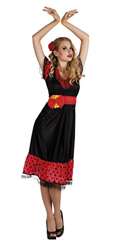 Karnevalsbud - Damen Kostüm Flamenco Women - medi Kleid, Rot, Größe XL