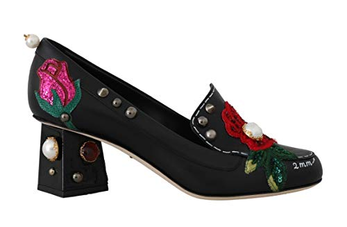 Dolce & Gabbana - Damen Schuhe - Pumps Black Leather Pearls Studs Moccasins- EU 39