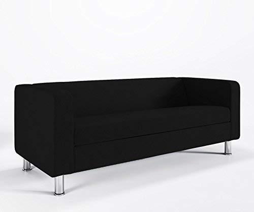Loungesofa 3-Sitzer Cubby 4N3 Cocktailsofa Hotelsofa Bürocouch Webstruktur Luna, Farbe:L36 - Schwarz