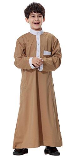 Auspicious beginning Mittlere Osten-arabische Junge Normallack-lange Hülse Thobe moslemisches bescheidenes Kurta mit (Indien Für Jungen Kostüm Kinder)