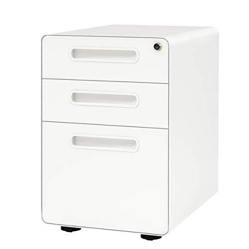DEVAISE Metall Rollcontainer, Aktenschränke, Büro-Rollcontainer, Bürocontainer mit Anti-umkippen-mechanismus für A4; 3 Schublade, Mobilen, Abschließbar ; 60cm H, Weiß